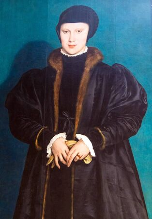 christina: LONDON, UK - JUNE 7, 2015: Christina of Denmark, Duchess of Milan(1538) by Hans Holbein the Younger(1497-1543)  at the National Gallery of London.