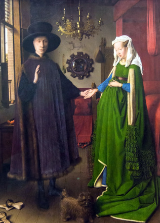 LONDON, UK - JUNE 7, 2015: Portrait of  Giovanni Arnolfini  and his wife by Jan van Eyck ( active 1422 - died 1441) at the National Gallery of London Reklamní fotografie - 56236901