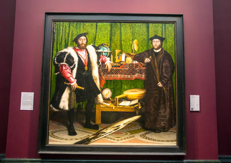 hans: LONDON, UK - JUNE 7, 2015: Ambassadors(1533) by Hans Holbein the Younger(1497-1543)  at the National Gallery of London.