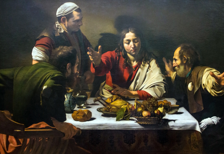 LONDON, UK - JUNE 7, 2015:Supper at  Emmaus(1601) by Michelangelo  Merisi da Caravaggio (1571-1610) at the National Gallery of London.  at the National Gallery of London.