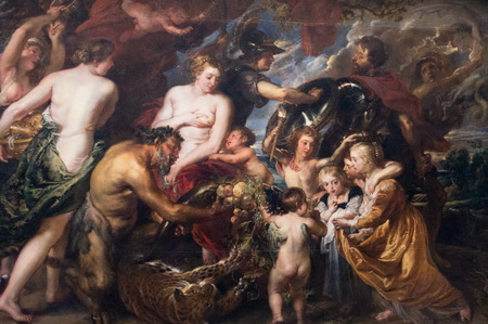 LONDON, UK - JUNE 7, 2015: Minerva protects Pax from Mars (Peace and War),1629-1630, by Peter Paul Rubens (1577-1640) at the National Gallery of London. at the National Gallery of London.
