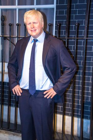 boris: London Mayor Boris Johnson in Madame Tussaud museum. It is one of major tourist attraction.
