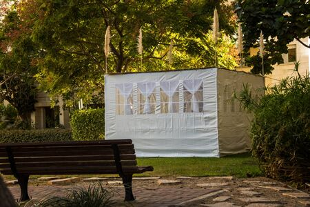 Jewish Holiday Sukkot . A sukkah is a temporary hut constructed for use during the week-long Jewish festival of Sukkot. Static shooting Editorial