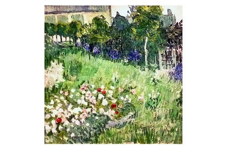 AMSTERDAM, NETHERLANDS - AUGUST 10, 2016 : Daubigny Garden. Photo of original painting by artist Vincent Van Gogh. Oil on canvas. 1890. 50,7x50,7 cm