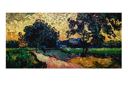 AMSTERDAM, NETHERLANDS - AUGUST 10, 2016 : Landscape at dusk. Photo of original painting by artist Vincent Van Gogh. Oil on canvas. 1890. 50,2x52,5 cm