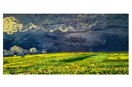AMSTERDAM, NETHERLANDS - AUGUST 10, 2016 : Wheat field under a Thunderclouds. Vincent Van Gogh Photo of original painting by artist Vincent Van Gogh. Oil on canvas. 1890. 新聞圖片