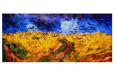 AMSTERDAM, NETHERLANDS - AUGUST 10, 2016 : Wheat field with Crows. Vincent Van Gogh Photo of original painting by artist Vincent Van Gogh. Oil on canvas. 1890. 50,5x103 cm 版權商用圖片 - 80740722