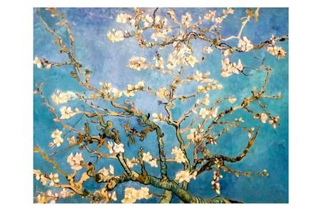 암스테르담, 네덜란드 - 암스테르담 -2008 년 8 월 10 일 : 아몬드 꽃. 예술가 Vincent Van Gogh의 원화 그림. 캔버스에 오일. 1890, 73,3x92,4 cm