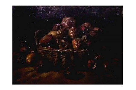 AMSTERDAM, NETHERLANDS - AUGUST 10, 2016 : Still Life: Basket of rotten apples . Photo of original painting by artist Vincent Van Gogh. Oil on canvas. 1890. 45.0 x 60.3 cm