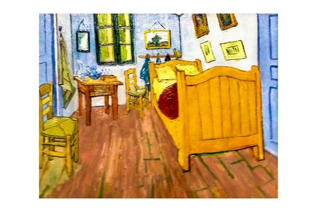AMSTERDAM, NETHERLANDS - AUGUST 10, 2016 : Bedroom in Arles . Photo of original painting by artist Vincent Van Gogh. Oil on canvas. 1888. 74 x 91.3 cm