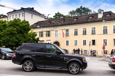 Salzburg, Österreich - 15. Juli 2017: Das Mozart-Wohnhaus (Wohnhaus) in der Nähe des Mirabell-Gartens ist der schönste Park der Stadt Editorial