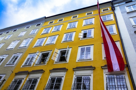 Birthplace of the famous composer Wolfgang Amadeus Mozart in Salzburg, Austria