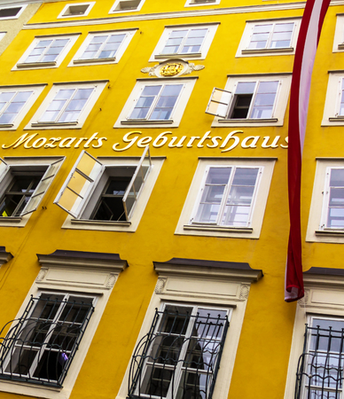 Salzburg, Austria - July 15,2017: Birthplace of the famous composer Wolfgang Amadeus Mozart