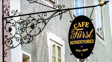 Salzburg, Austria - July 15, 2017: Logo of Cafe Konditorei Furst (Prince), producing Original Salzburger Mozartkugeln - Konditorei Furst