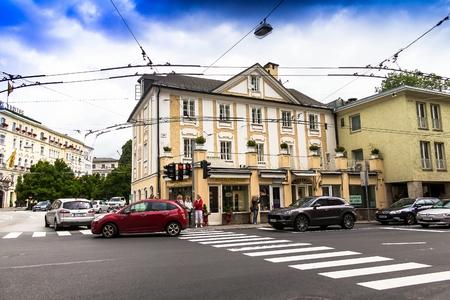 Salzburg, Austria - July 15,2017: Cristian Doppler birth place. Doppler house in Salzburg Editorial