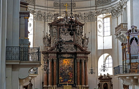 Salzburg, Austria - July 15, 2017: Interior of Baroque cathedral of the Roman Catholic Archdiocese, 1628
