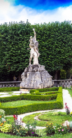 Statue Pluto carries Proserpina underground( Sculptor Ottavio Mosto, 1690. ) in Mirabell garden is the most beautiful park with free entrance and photography. Salzburg. Austria
