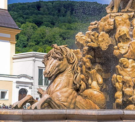 Detail of huge fountain on Rezidenzplatz (Residence Square). Sculptor Tomasso di Garona, 1656-1661. Salzburg. Austria