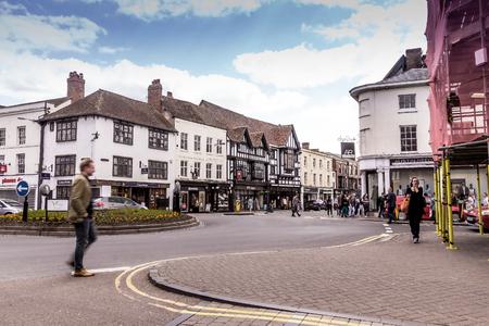 STRATFORD-UPON-AVON, UK - JUNE 8, 2015: Unidentified tourists in the center of Stratford Upon Avon, Warwickshire. England, United Kingdom, Western Europe Editorial
