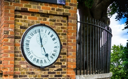 Shepherd gate clock at Royal Greenwich Observatory. The network of master and slave clocks was constructed and installed by Charles Shepherd in 1852. LONDON, UK