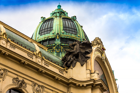 Prague, Czech Republic. Municipal House (Smetana Hall) with unidentified people. The City is home to many cultural attracts in historic center