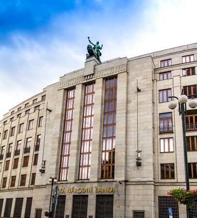 Prague, Czech Republic -July 23,2017: Czech National Bank( Ceska Narodni banka) , building of public financial institution. Central and reserve bank