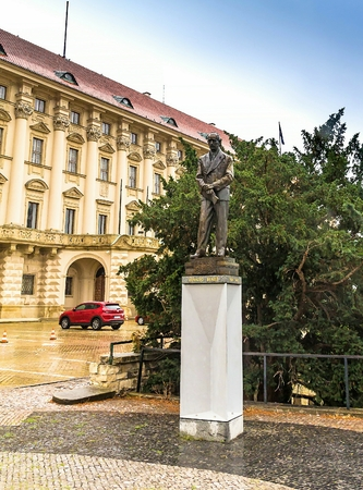 Prague, Czech Republic -July 23,2017: The statue of Edvard Benes in front of the Czernin Palace. He was a Czech politician who was twice President of Czechoslovakia. Editorial