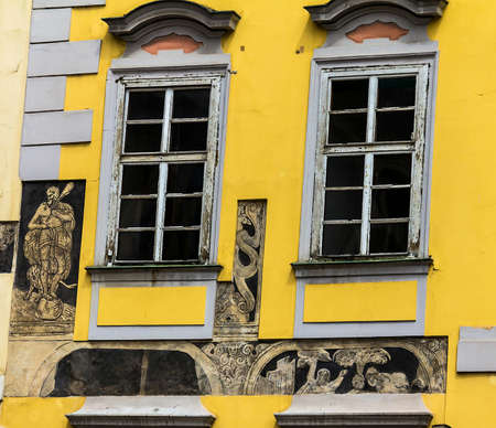 Journey through historic Prague. Medieval houses of the historic center