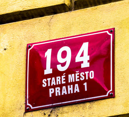 Prague, Czech Republic -July 23,2017: Street sign, Prague, Stare Mesto