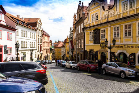 Prague, Czech Republic -July 23,2017: Old Prague street in Hradcany Editorial