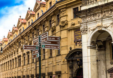Prague, Czech Republic -July 23,2017: Tourist directions to the main points of interest near St. Salvator Church or Klementinum
