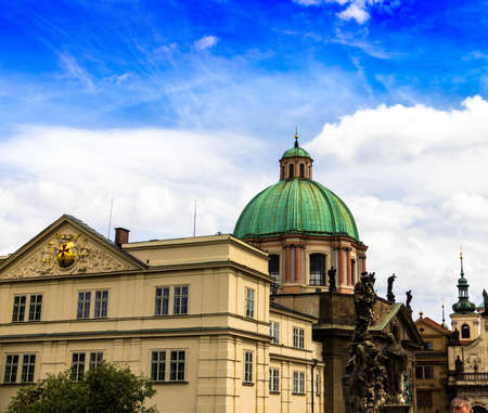 Green roof of St. Nicholas Church in the quarter of Mala Strana in Prague in Central Europe