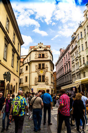 Prague, Czech Republic. Blurred view of tourists on the medieval Karlova street of the old part of the city near hotel Aurus