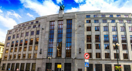 Prague, Czech Republic. The building of the Czech National Bank( Ceska Narodni banka) , building of public financial institution. Central and reserve bank