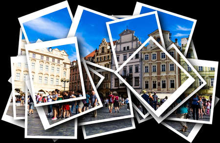 Collage of Old Town Square with tourists. Its a historic square in the Old Town quarter of Prague, popular with tourists. Welcome to Prague! Redakční