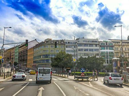 Blurred view of traffic on highway street inside large european city Redakční