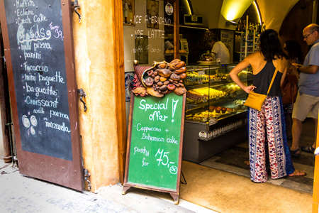 Prague, Czech Republic -July 23,2017: Small and beautiful restaurant and cafe in Prague
