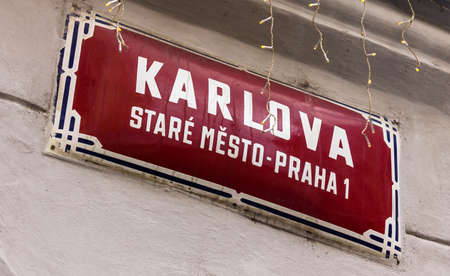 Prague, Czech Republic -July 23,2017: Sign of medieval Karlova street in the old part of the city near hotel Aurus
