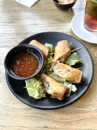 Egg roll. Patties rolls of dough stuffed with meat. Japanese or Chinese appetizer Reklamní fotografie