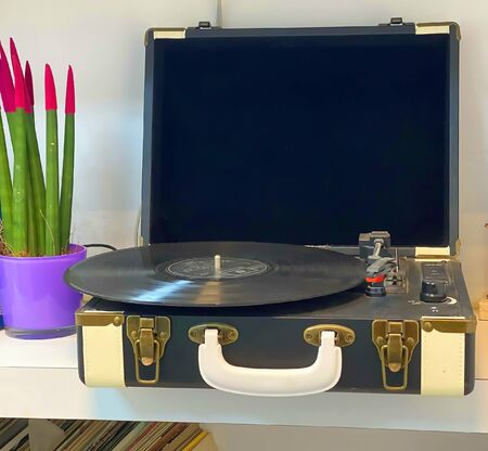 Antique dusty record player on a glass shelf among flowers