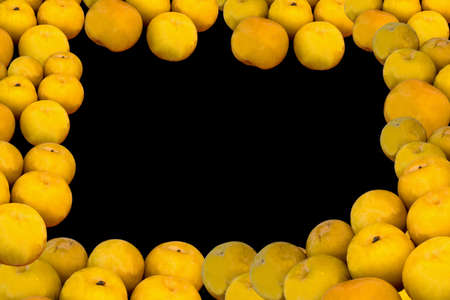 Ripe fresh juicy large yellow plums frame on a black background Banco de Imagens