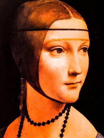 "Tel Aviv, Israel - March 6, 2019: Copy of the painting ""Lady with the Ermine"" by Leonardo da Vinci at The exhibition of Leonardo da Vinci - 500 years old. Sajtókép"