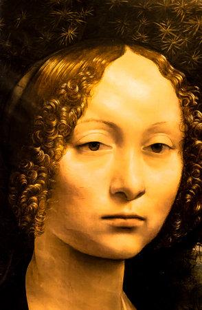 "Tel Aviv, Israel - March 6, 2019: Copy of the painting ""Portrait of Ginevra deBenci"" by Leonardo da Vinci (1474-1476) at The exhibition of Leonardo da Vinci - 500 years old. Sajtókép"