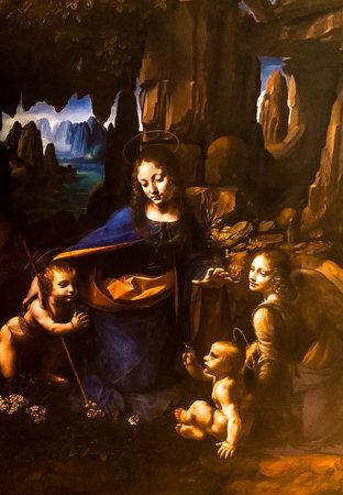 "Tel Aviv, Israel - March 6, 2019: Detail of copy of the painting ""Virgin of the Rocks""( ""The Madonna of the Rocks"") by Leonardo da Vinci at The exhibition of Leonardo da Vinci - 500 years old."