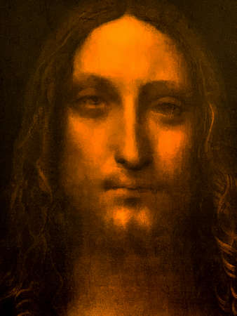"Tel Aviv, Israel - March 6, 2019: Copy of the painting "" Savior of The World""( Circa 1490) by Leonardo da Vinci at The exhibition of Leonardo da Vinci - 500 years old."