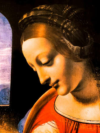 "Tel Aviv, Israel - March 6, 2019: Copy of the painting ""Madonna Litta"" by Leonardo da Vinci at The exhibition of Leonardo da Vinci - 500 years old. Detail. Sajtókép"