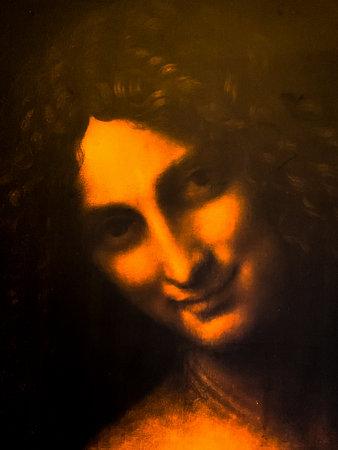 "Tel Aviv, Israel - March 6, 2019: Copy of the painting ""St. John the Baptist"" by Leonardo da Vinci at The exhibition of Leonardo da Vinci - 500 years old. Detail."