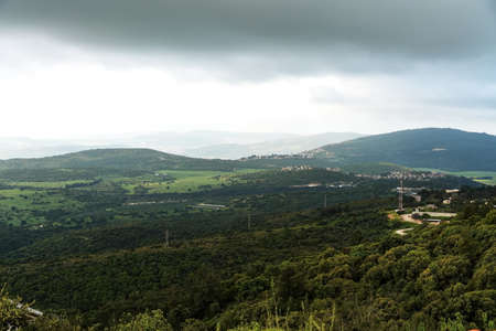 Panorama of the Upper Galilee from the tops of the hills surrounding Lake Kinneret or the Tiberias Sea or Sea of Galilee