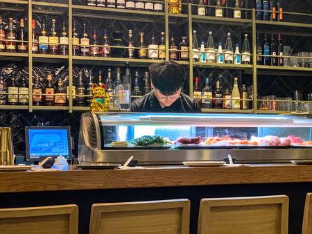Tel Aviv, Israel - April 5, 2019 : Tatami - modern sushi bar in nothern Tel Aviv