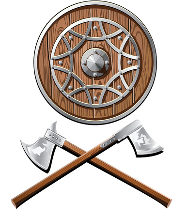 barbaric: battle shield and axes vector